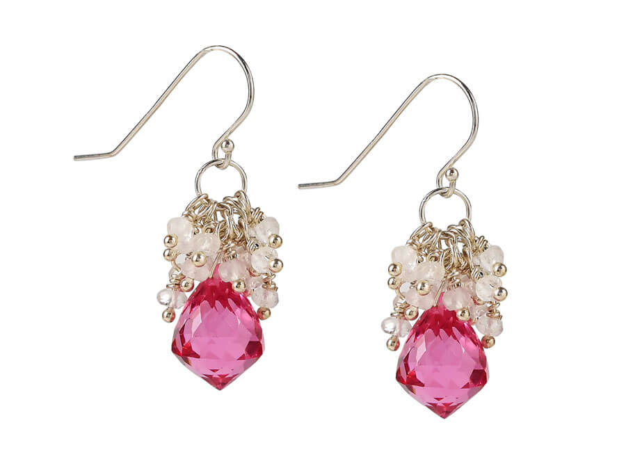 Jewelry photographer samples - Pink gemstone dangle earrings